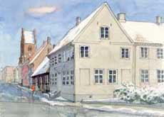 Akvarel af Riddergade i Næstved set fra Slagkildevej.