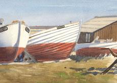 Akvarel fra Chr. Sørens havn i Karrebæksminde