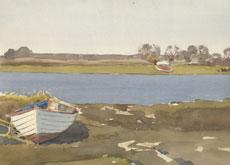Pram på land med Kanalen