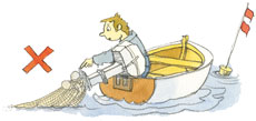 En båd har fået et garn i skruen