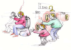 Tegning til illustration af udstillingsidé